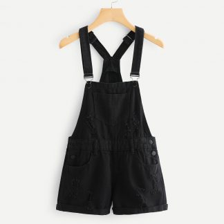 Roll Up Hem Ripped Denim Overalls