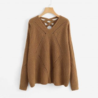 Plus Crisscross Eyelet Insert Sweater