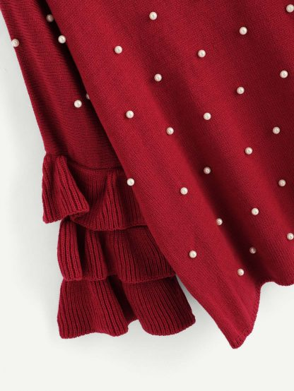 Plus Tiered Flounce Sleeve Pearl Beaded Jumper