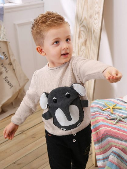 Toddler Boys Elephant Pattern Sweater