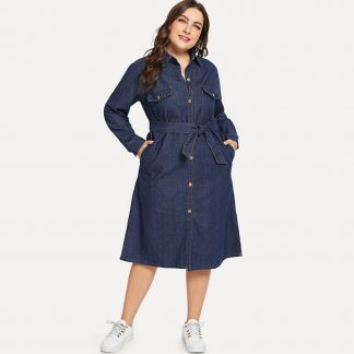 Plus Self Tie Collar Denim Dress