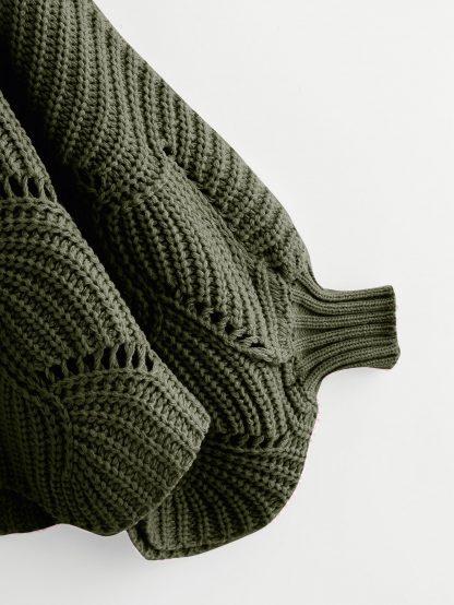Plus Dolman Sleeve Scallop Hem Eyelet Sweater
