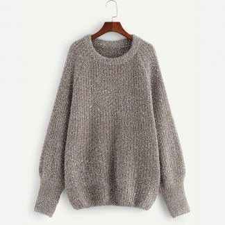 Plus Raglan Sleeve Fuzzy Sweater