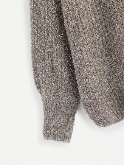 Plus Raglan Sleeve Fuzzy Sweater