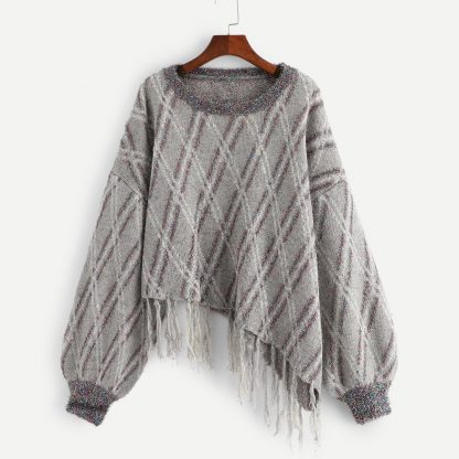 Plus Fringe Detail Asymmetrical Metallic Sweater