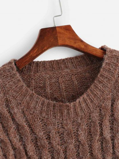 Plus Drop Shoulder Cable Knit Sweater