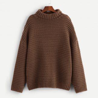 Plus Turtleneck Drop Shoulder Sweater