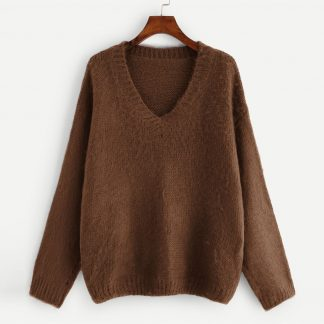 Plus V-Neck Drop Shoulder Sweater