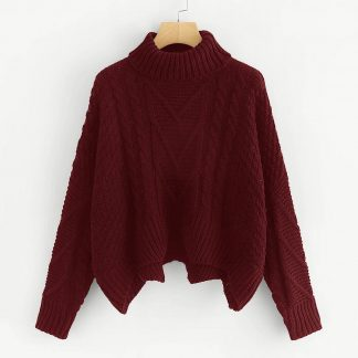 Plus Mixed Knit Asymmetrical Hem Sweater