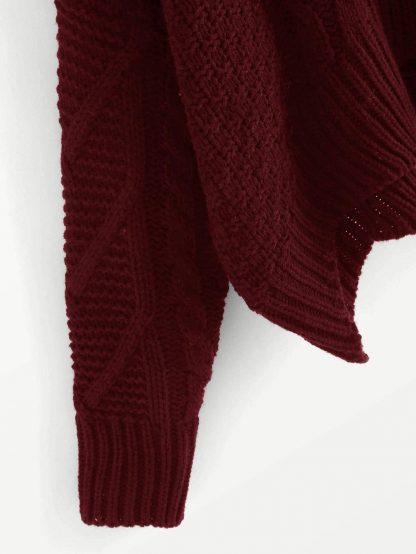 Plus Mixed Knit Asymmetrical Hem Sweater