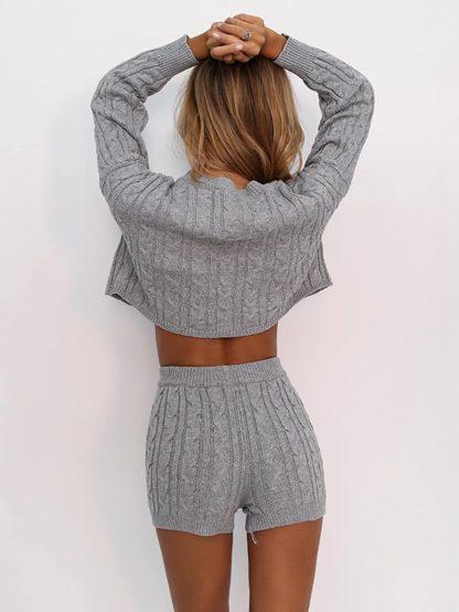 Joyfunear Drop Shoulder Cable Knit Sweater & Shorts Set
