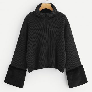 Plus Turtle Neck Faux Fur Detail Bell Sleeve Jumper