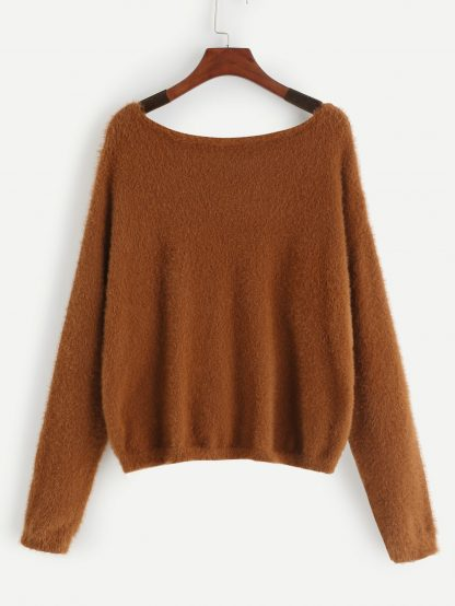 Plus Drop Shoulder Fuzzy Sweater
