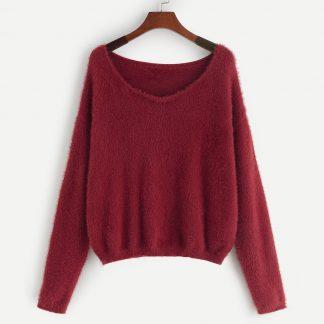 Drop Shoulder Fuzzy Sweater
