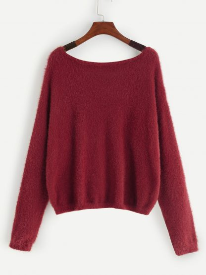 Drop Shoulder Fuzzy Sweater