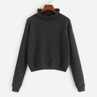 Plus Frill Neck Raglan Sleeve Jumper