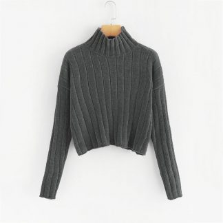 Plus Mock-neck Drop Shoulder Chenille Sweater