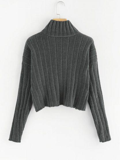 Plus Mock-neck Drop Shoulder Chenille Sweater