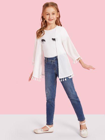 Girls Tassel Hem Open Front Kimono