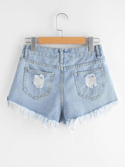 Plus Raw Hem Ladder Distressed Shorts