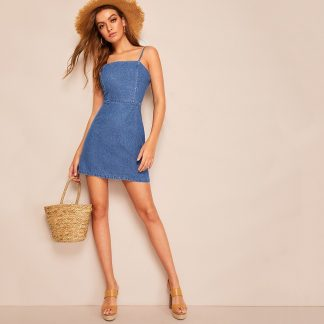 Zip Back Cami Denim Dress