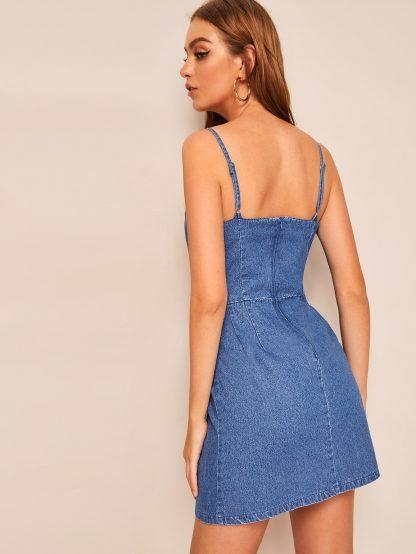Zip Back Cami Denim Dress