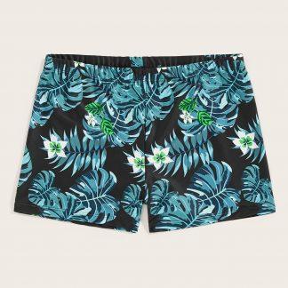 Men Jungle Leaf Print Beach Shorts