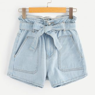 Plus Paperbag Waist Pocket Patch Denim Shorts