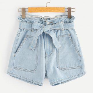 Plus Paperbag Waist Pocket Patch Denim Shorts