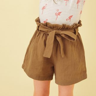 Toddler Girls Paperbag Waist Solid Shorts