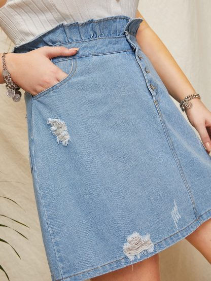 Plus Frill Trim Ripped Denim Skirt