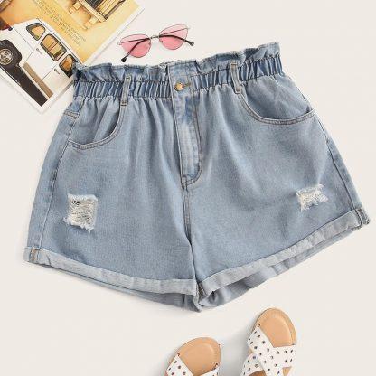 Plus Paperbag Waist Ripped Detail Denim Shorts