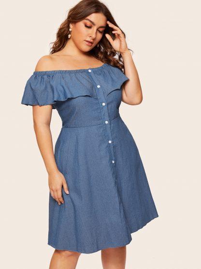 Plus Off Shoulder Button Denim Dress
