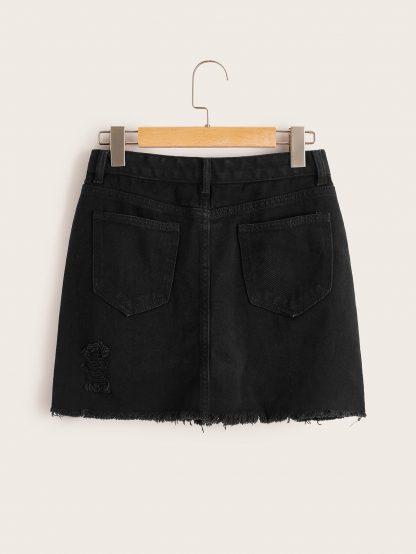 Plus Raw Hem Ripped Denim Skirt