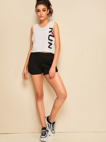 Letter Print Low Side Tank Top