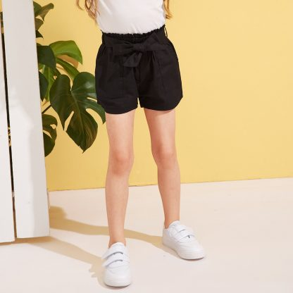 Toddler Girls Paperbag Waist Pocket Patch Shorts
