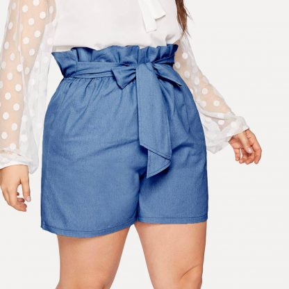 Plus Knot Paperbag Denim Shorts