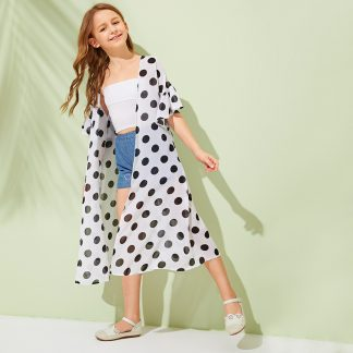 Girls Polka Dot Flounce Sleeve Kimono