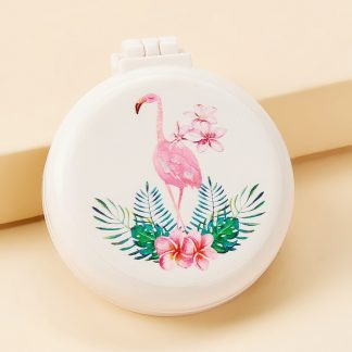 Flamingos Pattern Mirror With Comb