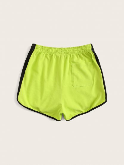 Girls Neon Lime Letter Side Dolphin Shorts