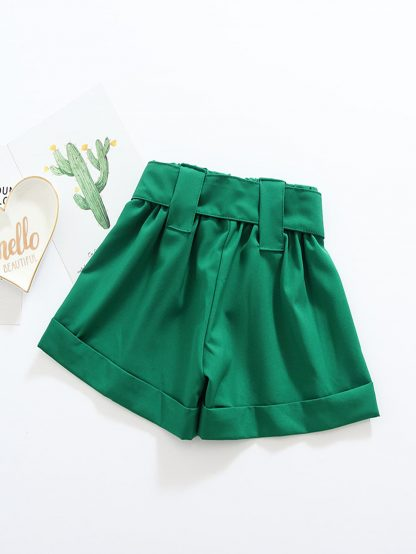 Toddler Girls Roll Hem Belted Shorts