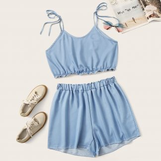 Plus Frill Cami Top With Shorts