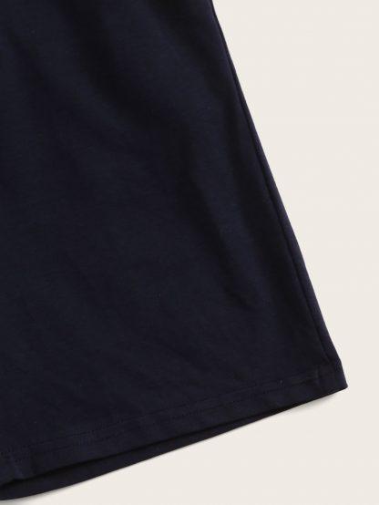 Boys Slogan Print Tee & Drawstring Waist Shorts Set