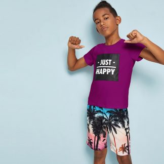 Boys Slogan Print Top & Coconut Tree Shorts Set