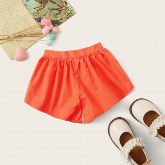 Toddler Girls Neon Orange Elastic Waist Shorts