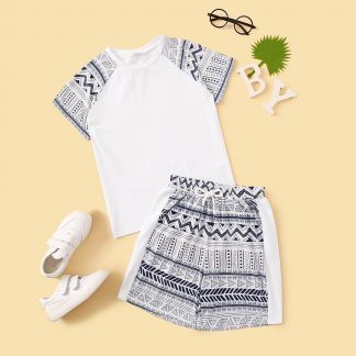 Boys Raglan Sleeve Aztec Print Top & Shorts Set