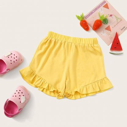 Toddler Girls Elastic Waist Ruffle Hem Shorts