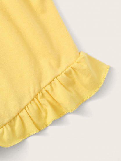 Toddler Girls Elastic Waist Ruffle Hem Shorts