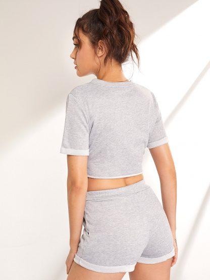 Roll Up Crop Tee & Drawstring Waist Shorts
