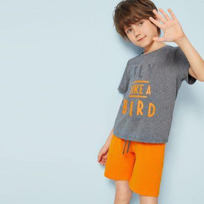 Boys Slogan Print Top & Neon Orange Shorts Set